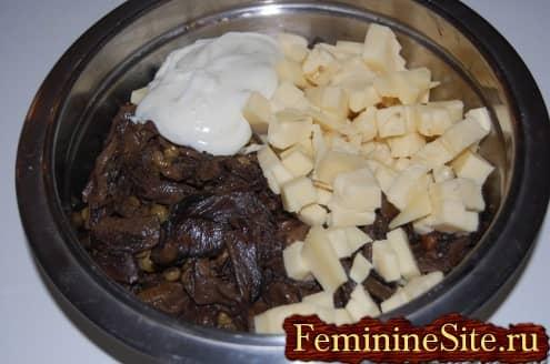 Рецепт блинчиков с грибами - смесь начинки