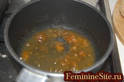 Слоеное тесто с яблоками рецепт -  нагреть джем