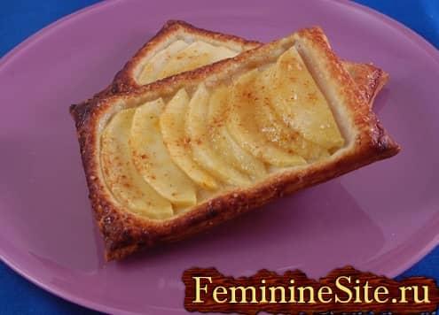 Слоеное тесто с яблоками рецепт с фото