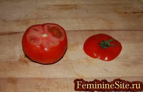 Рецепт фаршированных помидоров рисом - обрезать помидоры