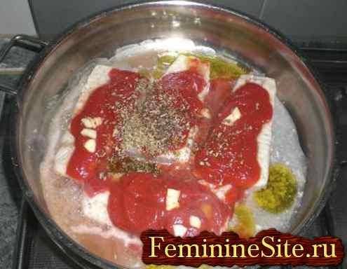 рыба треска с помидорами