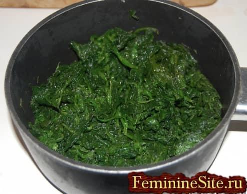 Рецепт пирога со шпинатом и сыром - варка шпината