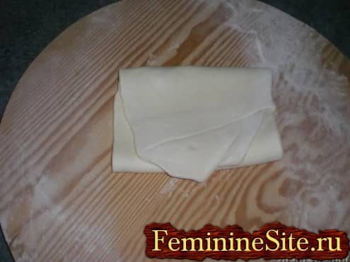 Слоеное тесто рецепт с фото - сложить тесто еще раз