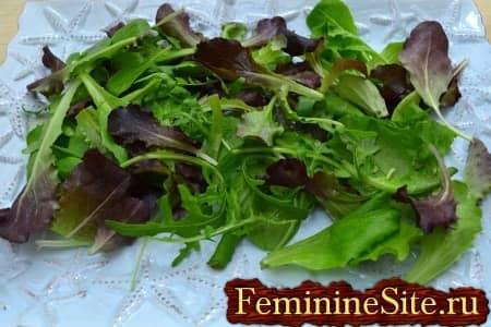 вымыть листья салата